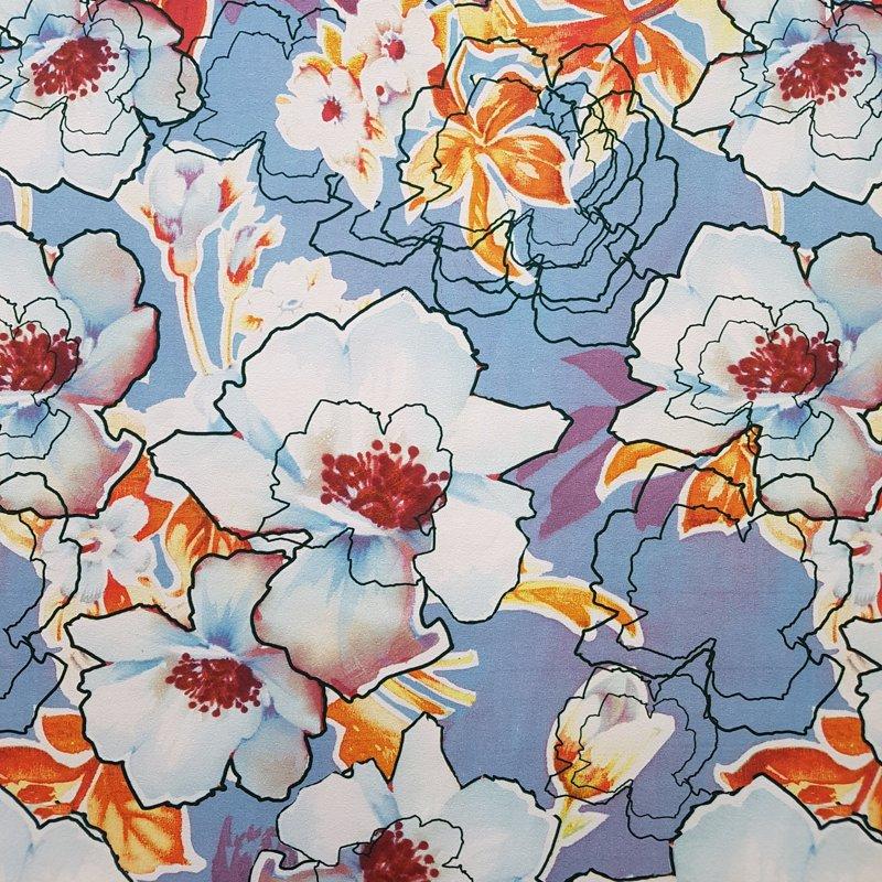Abstraktie ziedi uz zila fona Plānā kokvilnas trikotāža