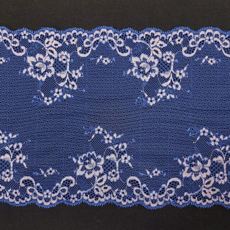 Tumši zila elastīgā mežģīne ar rozā ziediem 18cm