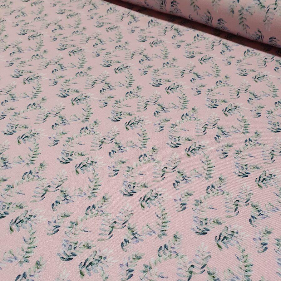 Augu motīvs uz rozā fona plānā kokvilnas trikotāža