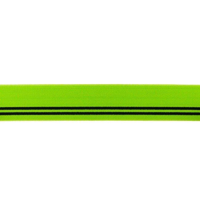 Gumija bokseršortiem laima zaļa ar melnām strīpām 3 cm