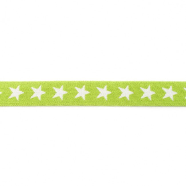 Laima zaļa gumija ar baltām zvaigznēm 2 cm plata