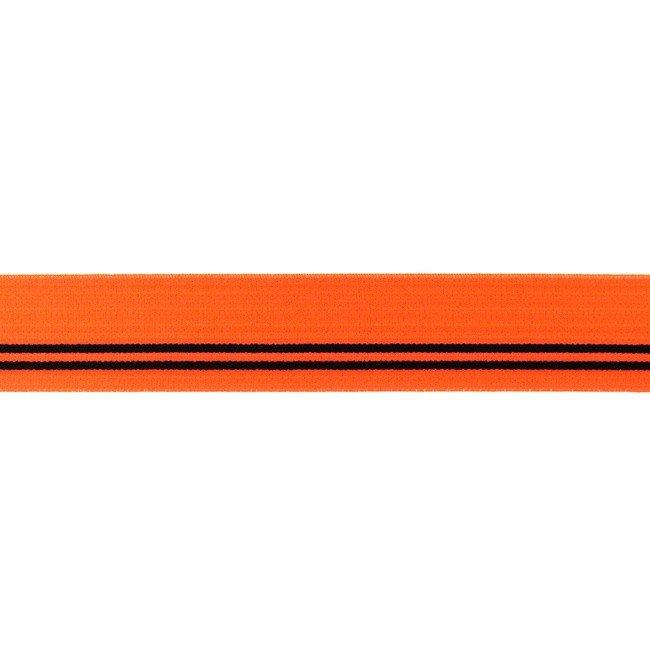 Gumija bokseršortiem neona oranža ar melnām strīpām 3 cm
