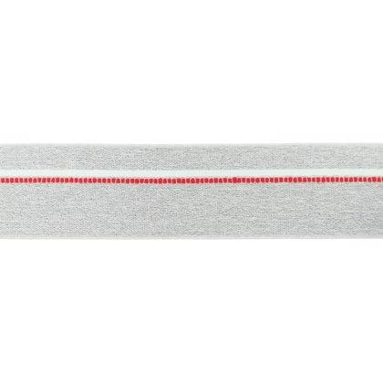 Gumija bokseršortiem gaiši pelēka ar sarkanu un baltu strīpu 4 cm