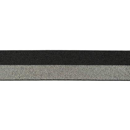 Melns/pelēks mirdzoša gumija 4 cm plata