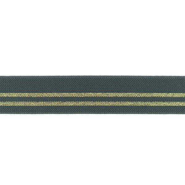 Pelēka gumija ar zelta lurex diega strīpām 3 cm