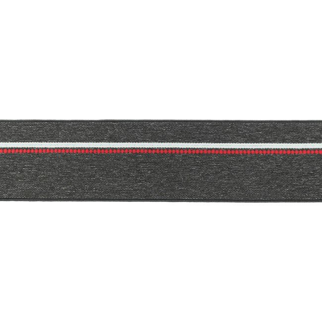 Gumija  bokseršortiem tumši pelēka ar sarkanu un baltu strīpu 4 cm plata