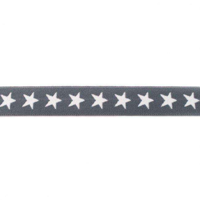 Tumši pelēka gumija ar baltām zvaigznēm 2 cm plata