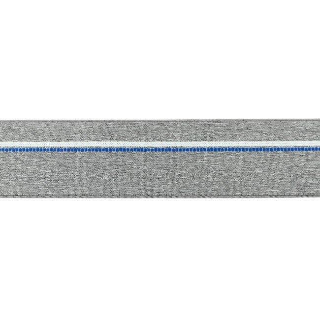 Gumija bokseršortiem vidēji pelēka ar kobalta zilu un baltu strīpu 4 cm plata