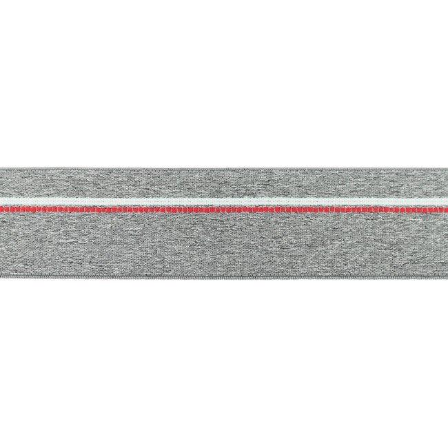 Gumija bokseršortiem vidēji pelēka ar sarkanu un baltu strīpu